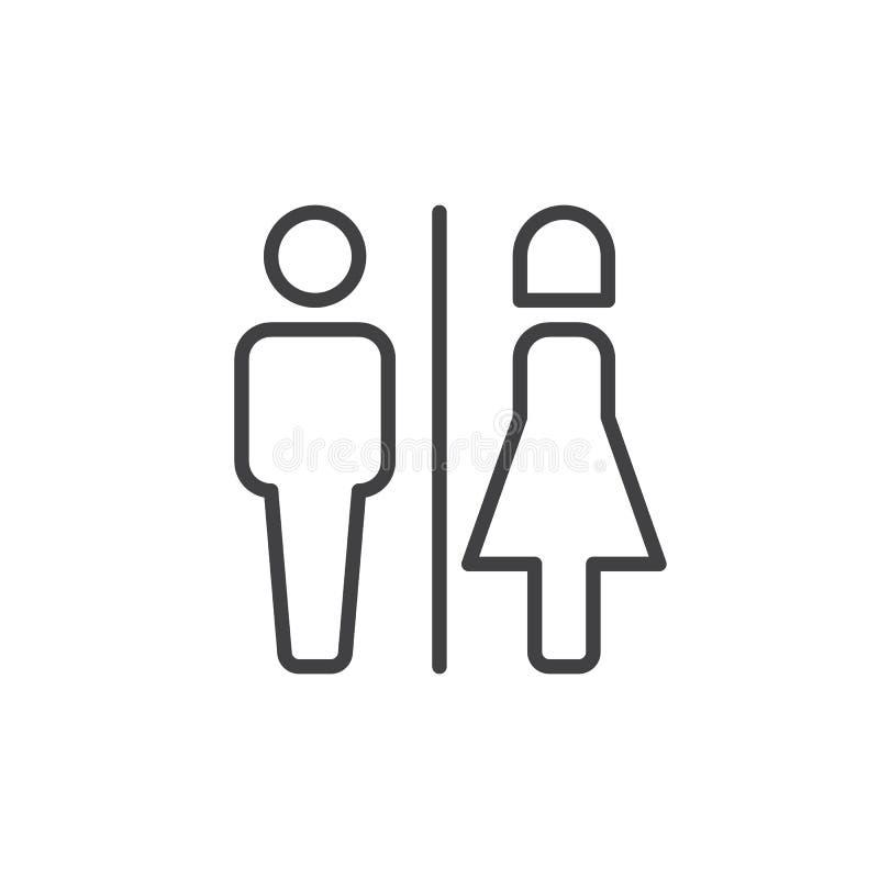 Línea masculina y femenina icono del retrete stock de ilustración