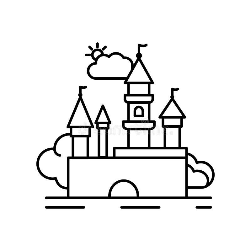 Línea medieval icono de la fortaleza del castillo Elemento del icono de los paisajes ilustración del vector