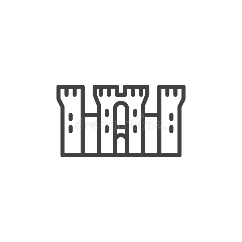 Línea medieval icono del castillo stock de ilustración