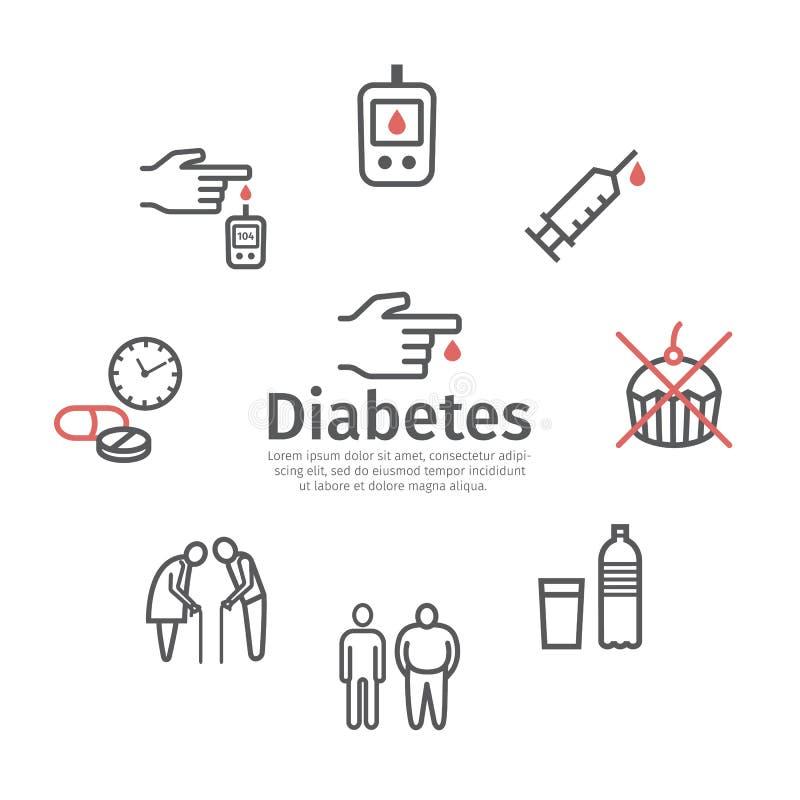 Línea Mellitus iconos de la diabetes Síntomas y símbolos Muestras del vector stock de ilustración