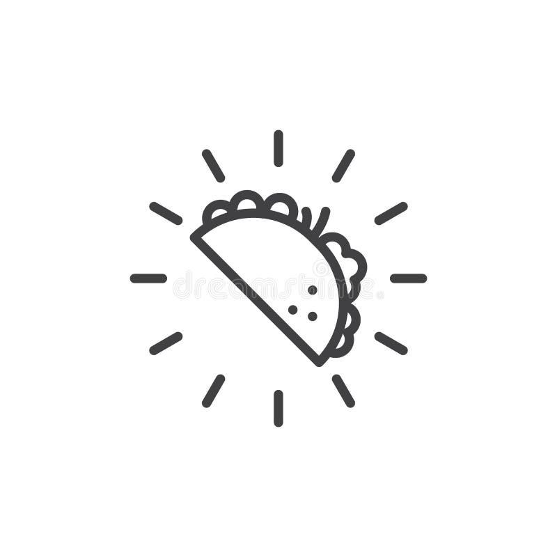 Línea mexicana icono de la comida del taco ilustración del vector