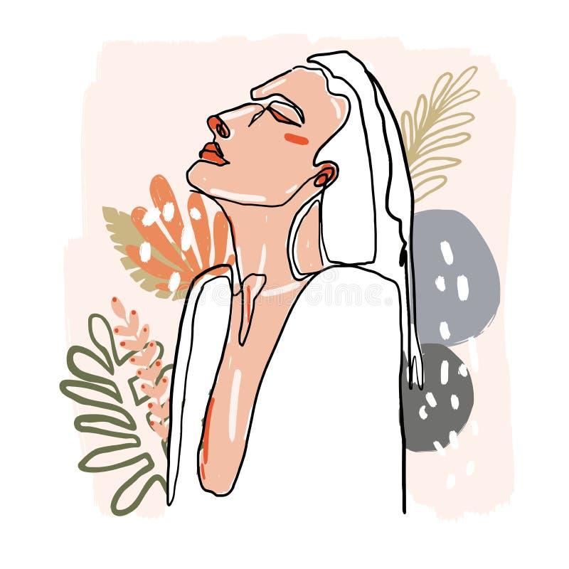 Línea minimalista moderna retrato de los continuos de la hembra Ejemplo abstracto de moda Arte coloreado vector La mujer compone  ilustración del vector