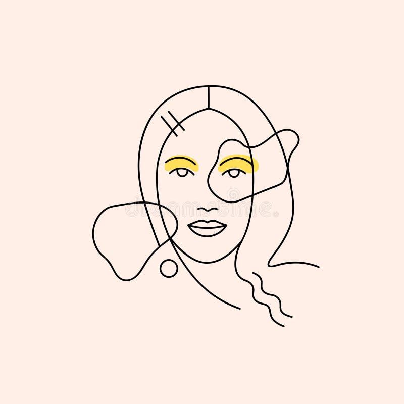 Línea minimalista moderna retrato femenino stock de ilustración