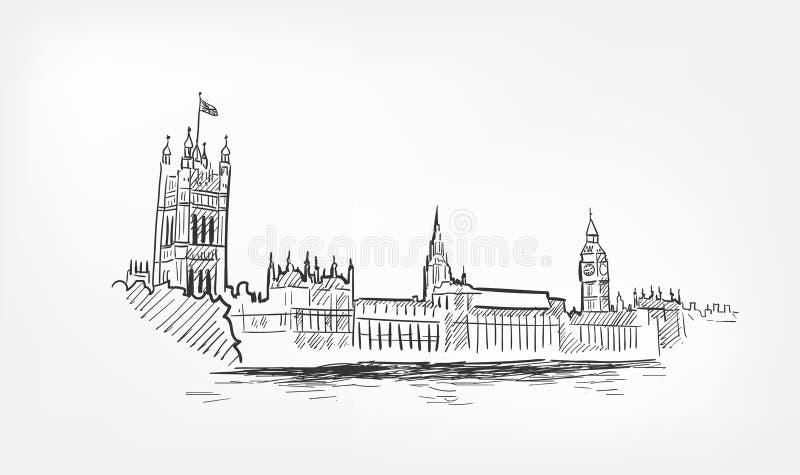Línea minochrome de Londres del ejemplo del vector del bosquejo aislado ilustración del vector