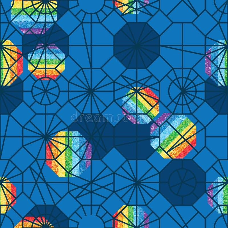 Línea modelo inconsútil azul del polígono de diverso brillo del arco iris del estilo libre illustration