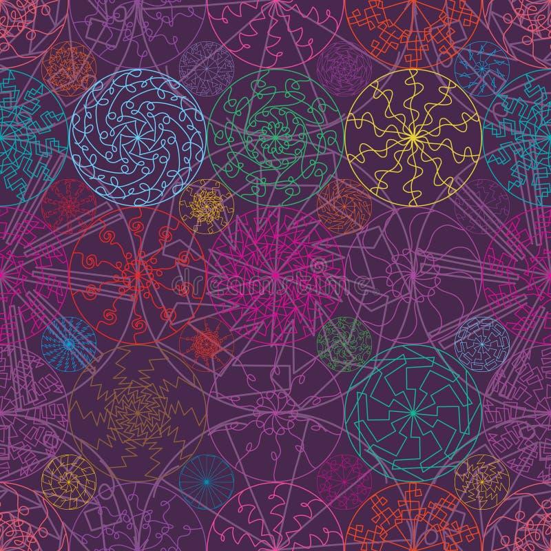 Línea modelo inconsútil de la mandala de la simetría colorida del rayo stock de ilustración
