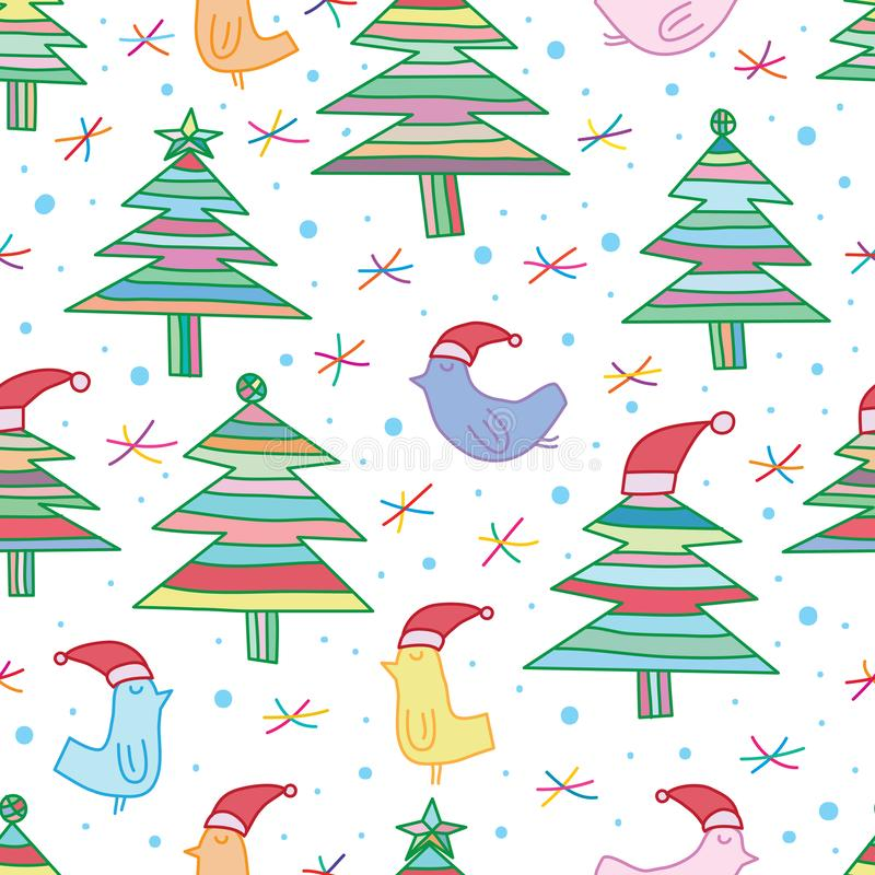 Línea modelo inconsútil de la Navidad del árbol del pájaro ilustración del vector