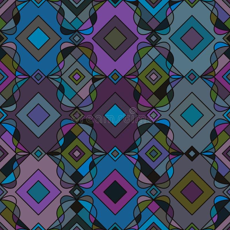 Línea modelo inconsútil del rizo de la forma del diamante de la simetría del estilo libre illustration