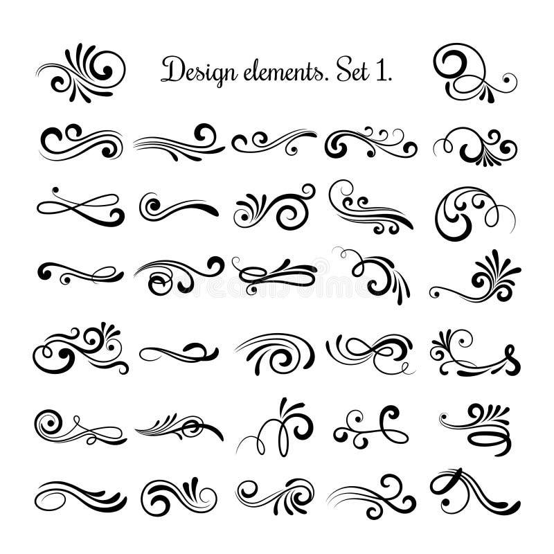 Línea modelos de Swirly del rizo aislados en el fondo blanco Adornos del vintage del flourish del vector para las tarjetas de fel stock de ilustración