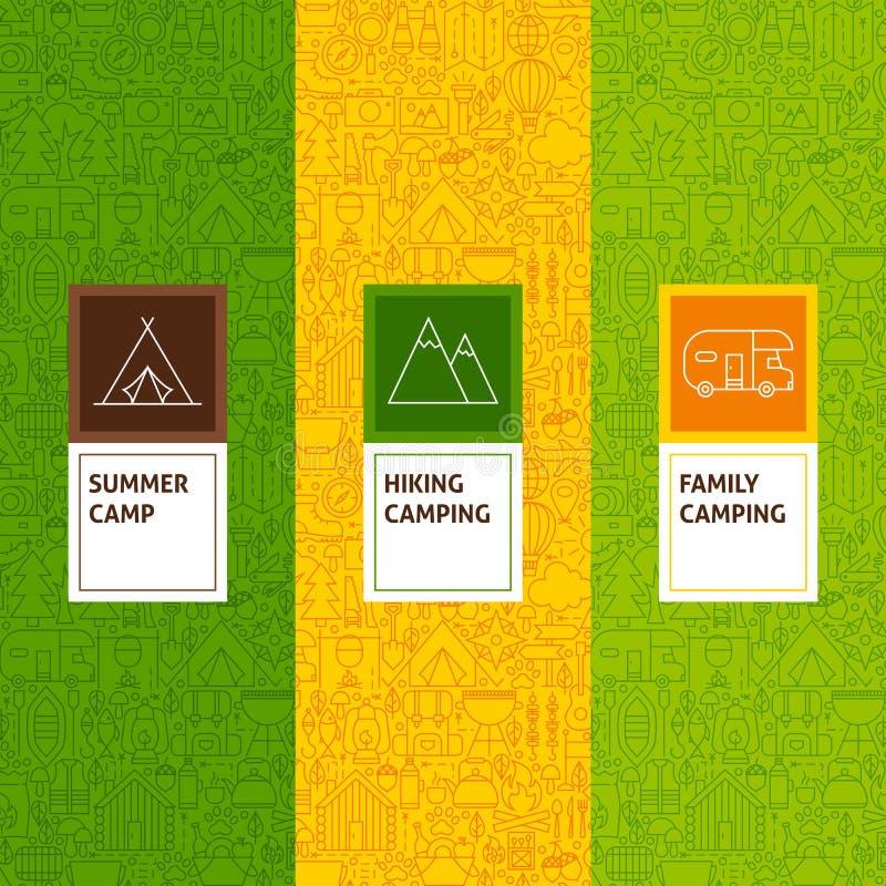Línea modelos que acampan fijados ilustración del vector