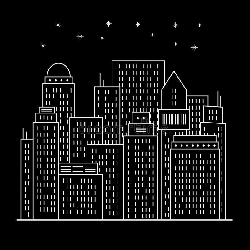 Línea moderna arte de ciudad de la noche libre illustration