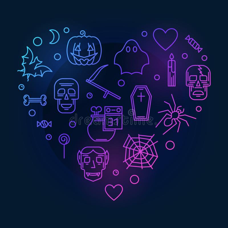 Línea moderna coloreada corazón ejemplo del vector de Halloween ilustración del vector