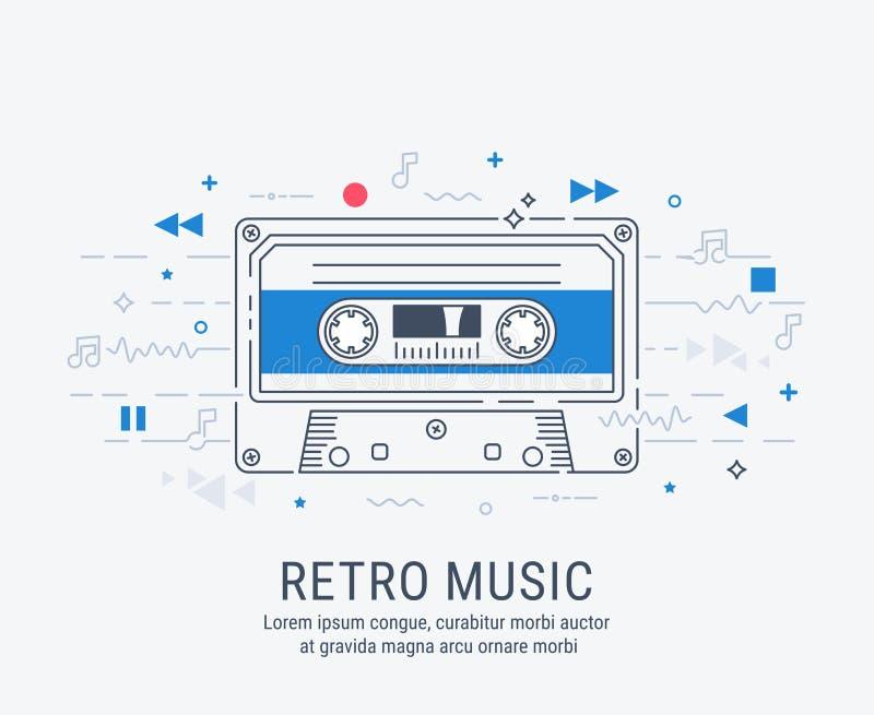 Línea moderna estilo del casete audio del arte libre illustration