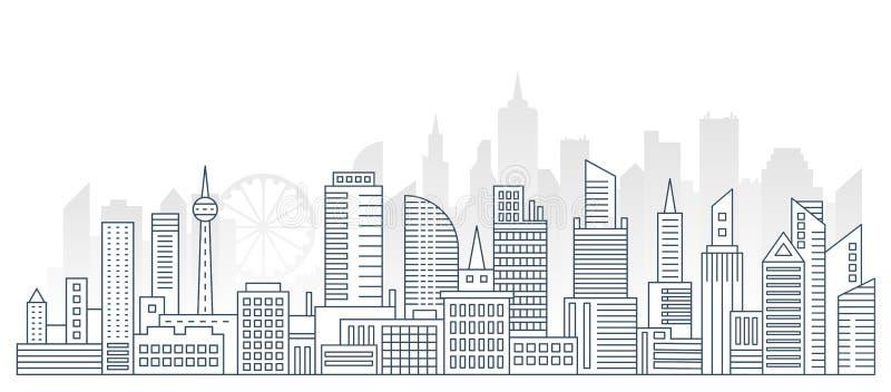 Línea moderna fondo urbano grande del esquema del panorama de la ciudad con los rascacielos planos del color en fondo libre illustration