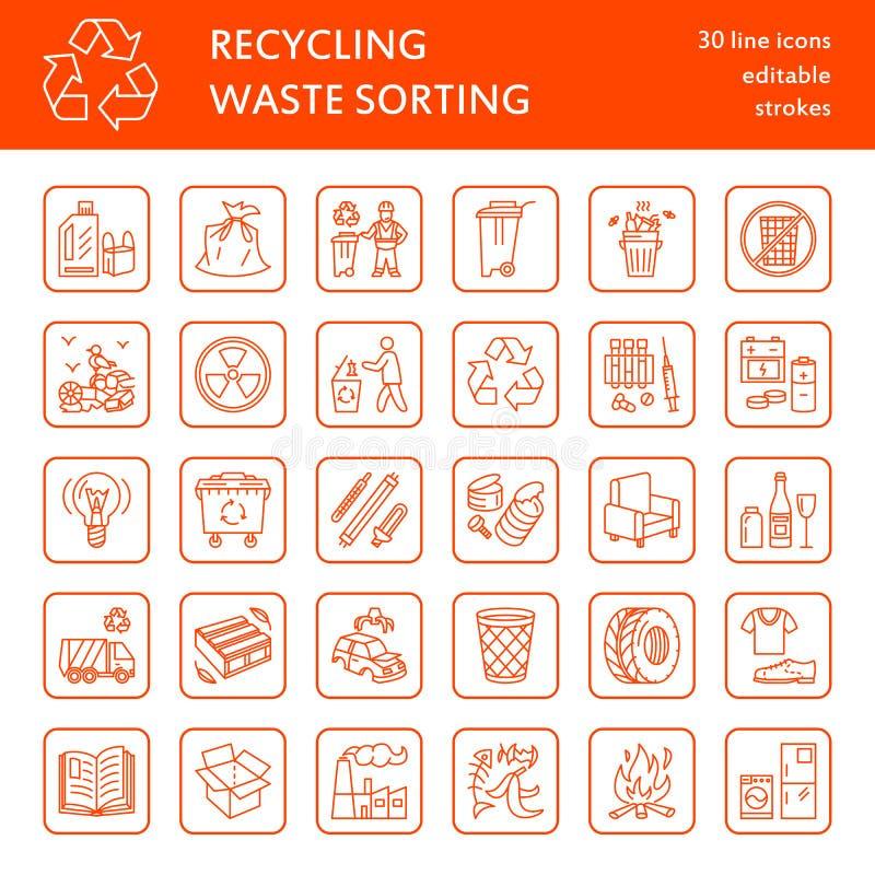 Línea moderna icono del vector de clasificación inútil, reciclando Recolección de basura Tipos inútiles - papel, vidrio, plástico stock de ilustración