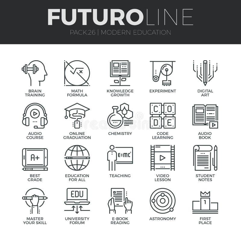 Línea moderna iconos de Futuro de la educación fijados libre illustration