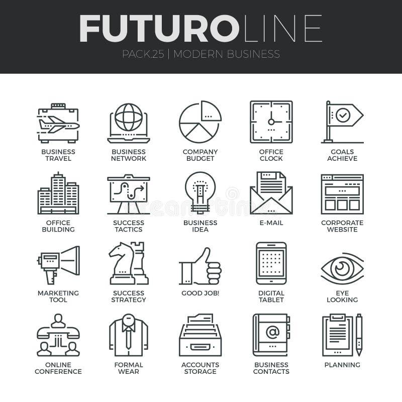 Línea moderna iconos de Futuro del negocio fijados ilustración del vector