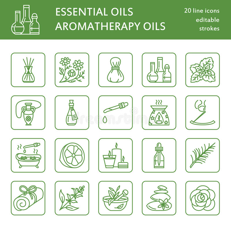 Línea moderna iconos del vector de aromatherapy y de aceites esenciales Elementos - difusor del aromatherapy, hornilla de aceite, ilustración del vector