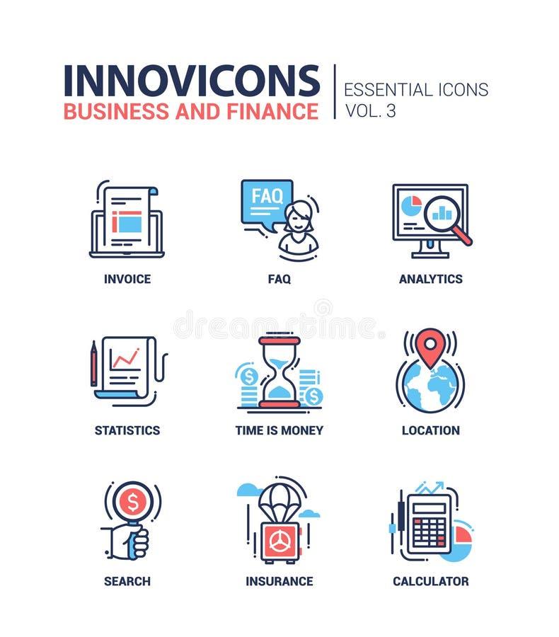 Línea moderna iconos planos del diseño, pictogramas de la oficina y de negocio fijados ilustración del vector