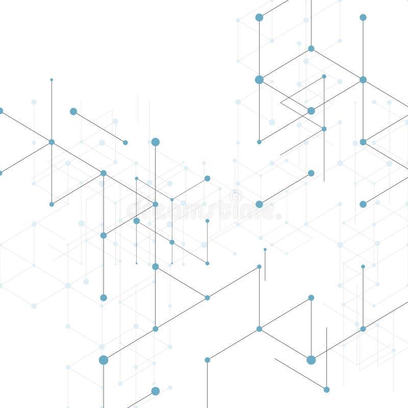 Línea moderna modelo del arte con las líneas de conexión en el fondo blanco Estructura de la conexión Gráfico geométrico abstract libre illustration