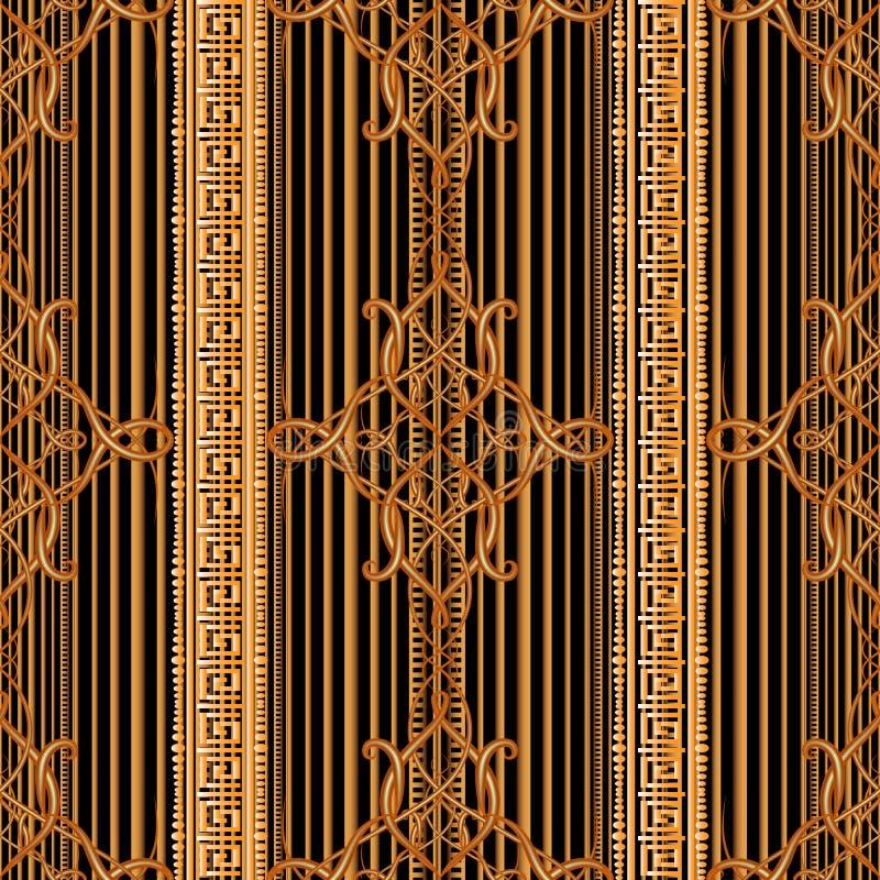 Línea moderna ornamental rayada modelo inconsútil del arabesque del tracery del arte Fondo griego de las fronteras del vector Con stock de ilustración