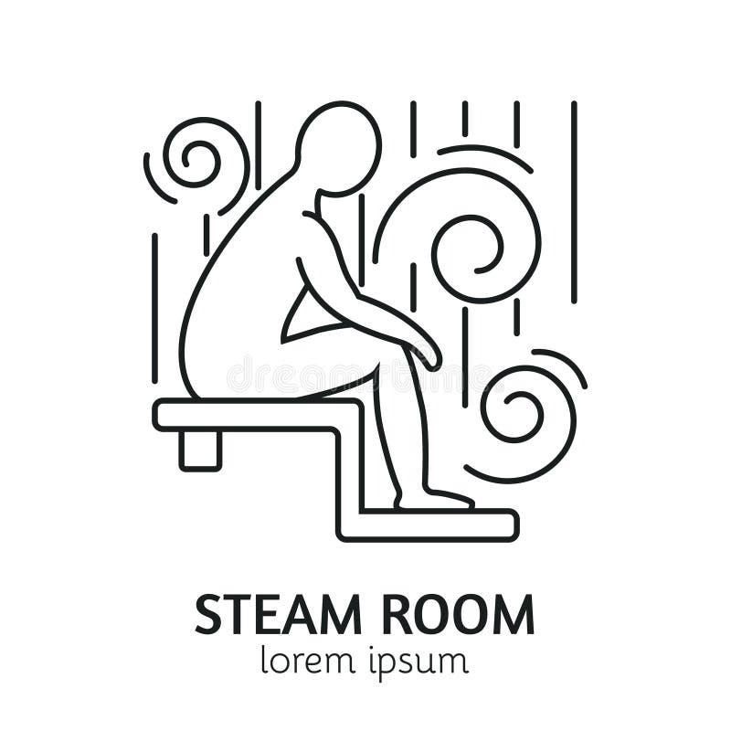 Línea moderna plantilla del logotipo de la sauna del estilo ilustración del vector