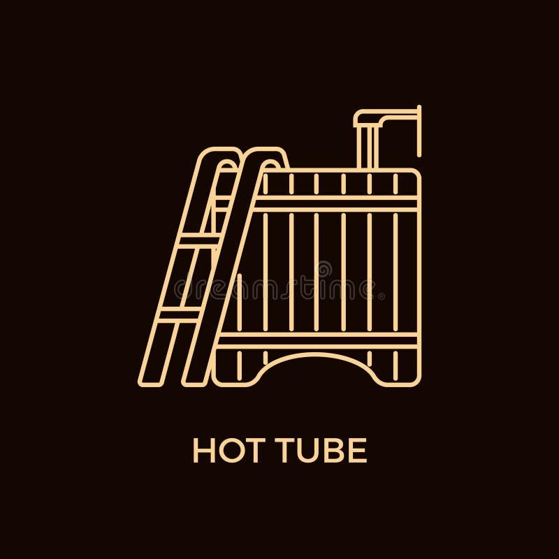 Línea moderna plantilla del logotipo de la tina caliente del estilo libre illustration
