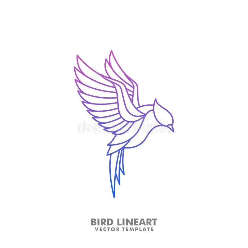 Línea mono plantilla del pájaro del diseño del vector del ejemplo del arte libre illustration