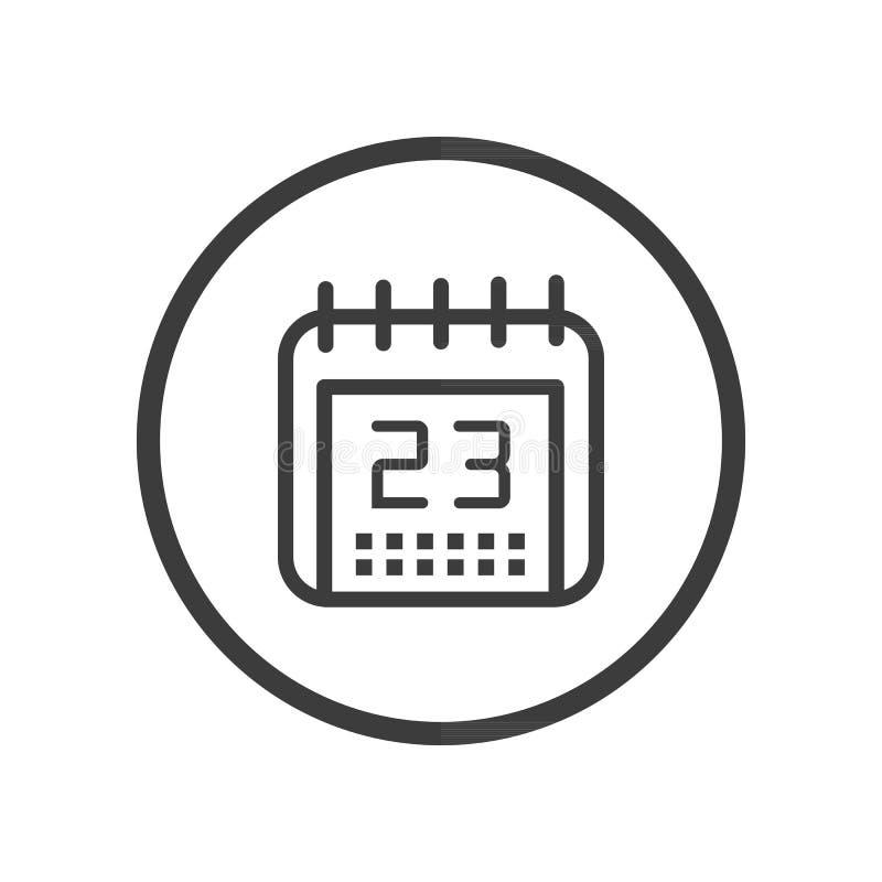 Línea monocromática icono del arte del calendario en un marco redondo stock de ilustración