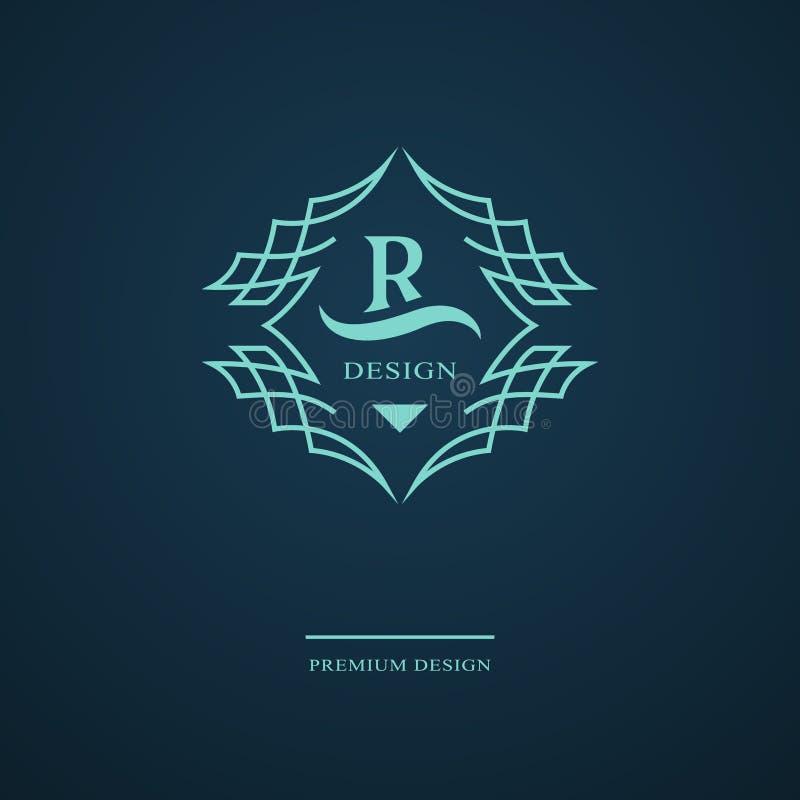 Línea monograma de los gráficos Diseño del logotipo del arte elegante Letra R Plantilla agraciada Muestra del negocio, identidad  libre illustration