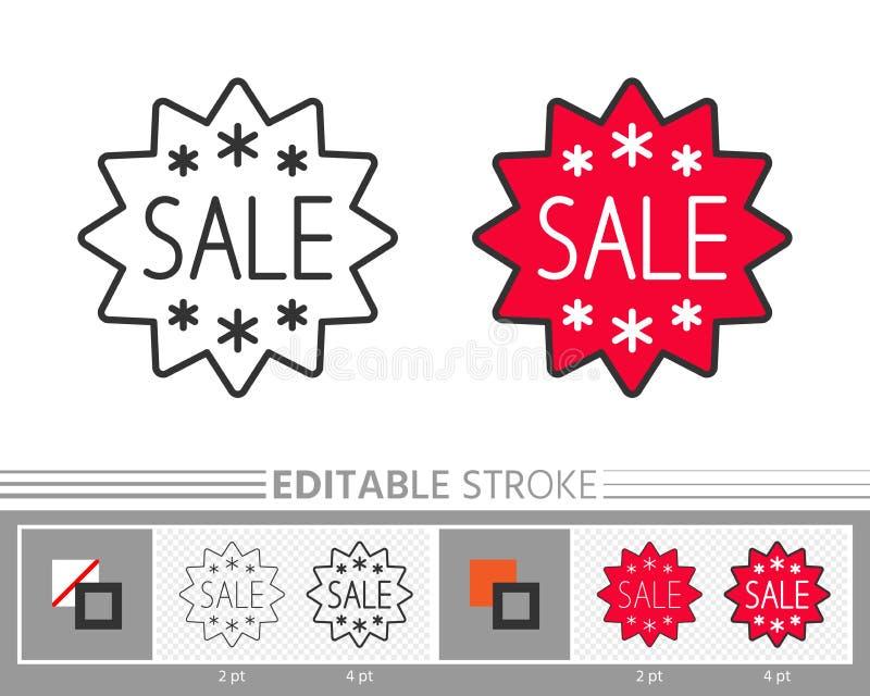Línea movimiento editable de la venta de la estrella de la etiqueta engomada de la bandera del icono ilustración del vector
