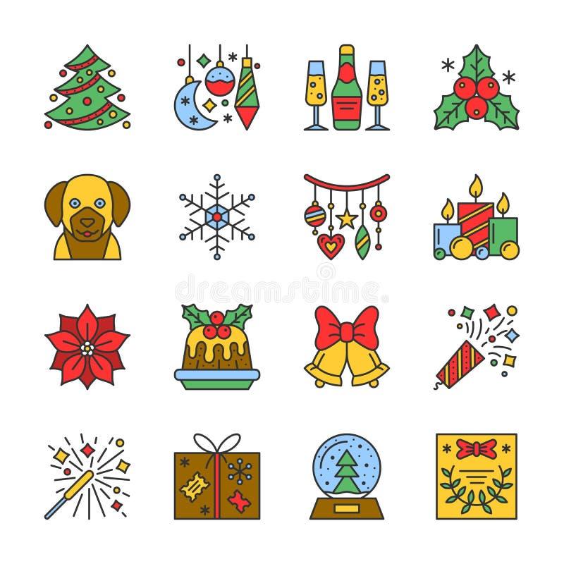 Línea movimiento editable determinado del Año Nuevo de Cristmas del icono libre illustration
