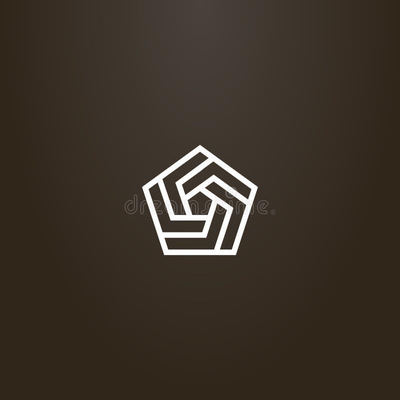 Línea muestra geométrica del vector del arte de espiral pentagonal de varios fragmentos libre illustration