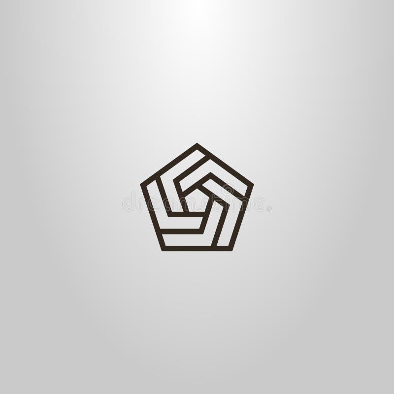 Línea muestra geométrica del vector del arte de espiral pentagonal de varios fragmentos ilustración del vector