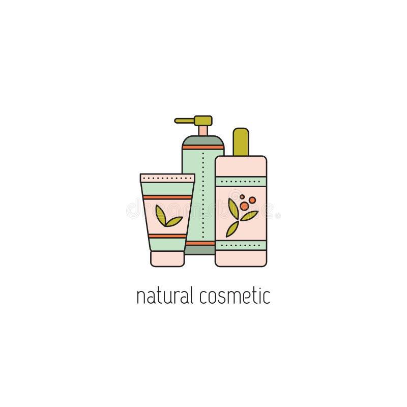 Línea natural icono de los cosméticos ilustración del vector