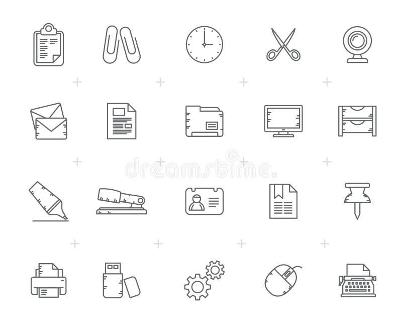 Línea negocio e iconos del mobiliario de oficinas stock de ilustración