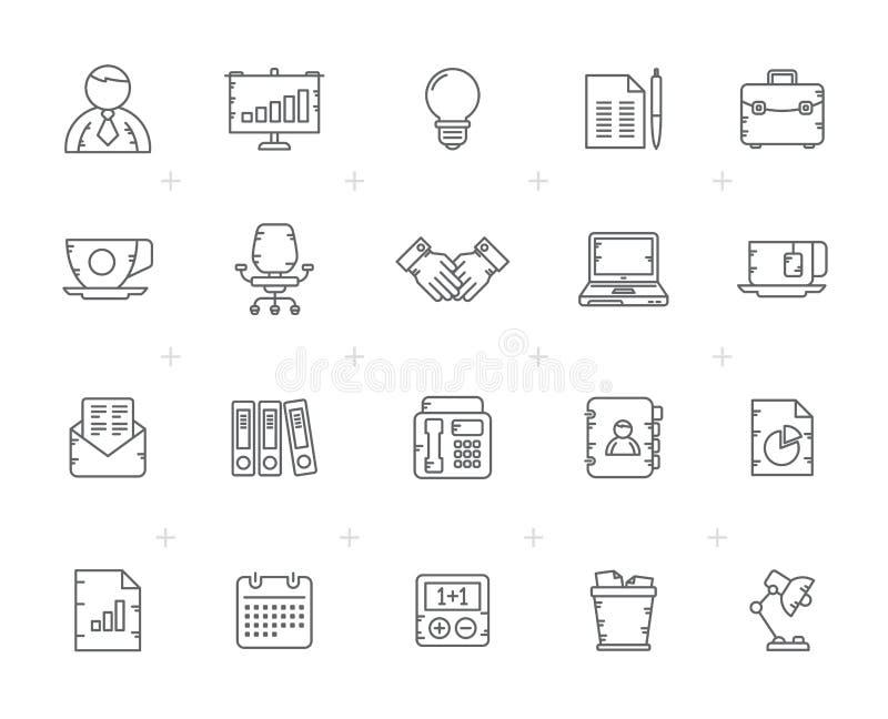 Línea negocio e iconos del mobiliario de oficinas libre illustration