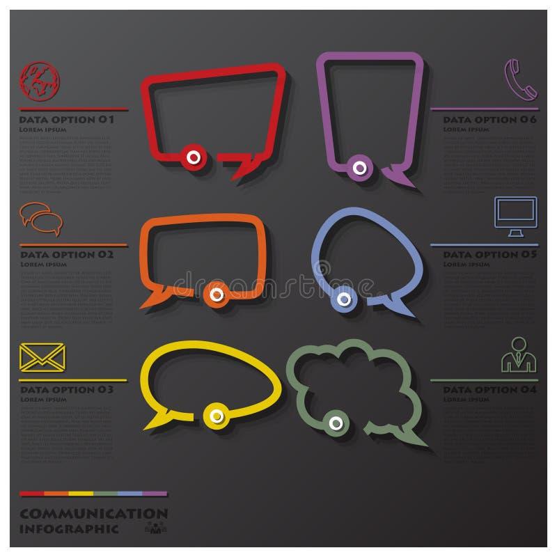 Línea negocio Infographic de la conexión de la comunicación de la burbuja del discurso stock de ilustración