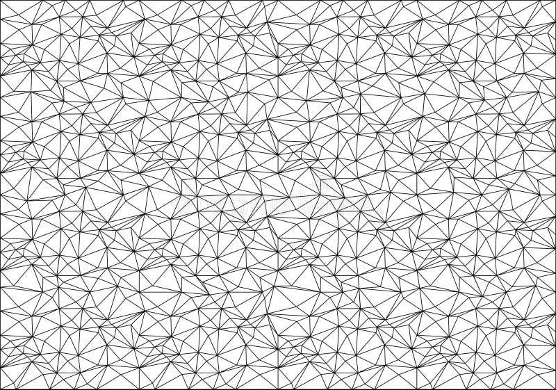 Línea negra abstracta modelo del polígono de la malla en el vector blanco de la textura del fondo stock de ilustración