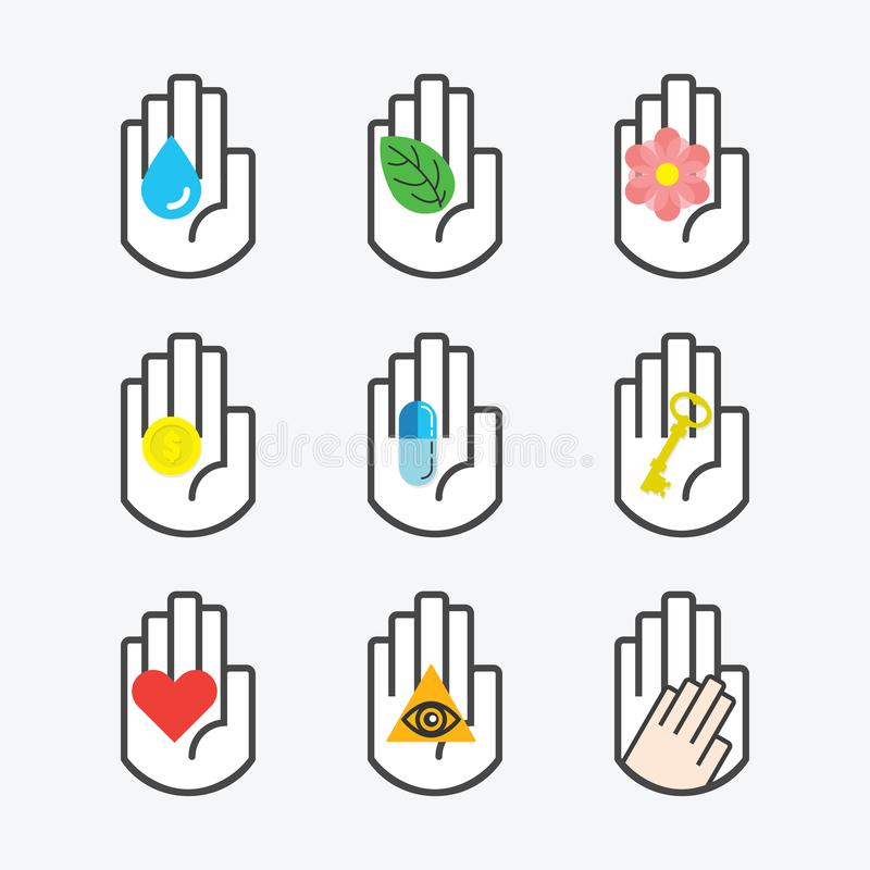 Línea negra aislada símbolo de la mano que lleva a cabo diversos iconos conceptuales de la muestra fijados ilustración del vector