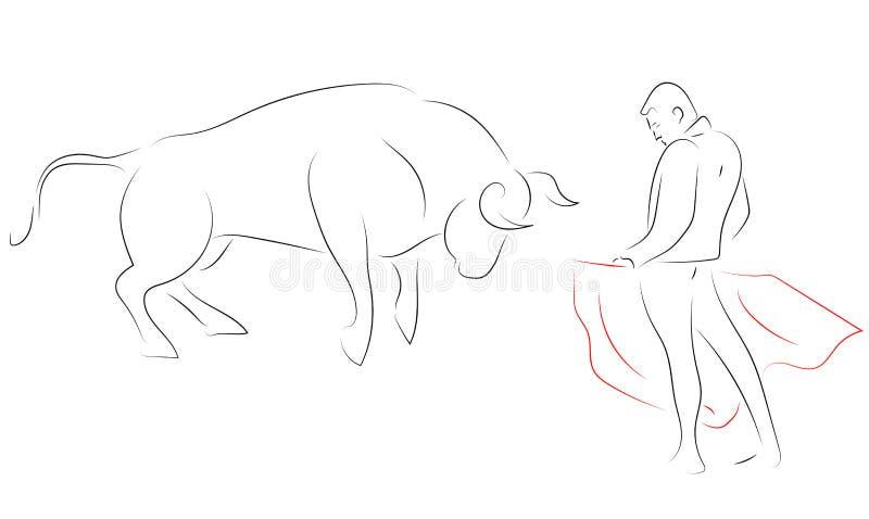 Línea negra corrida, - matador, él es el torero, contra ilustración del vector