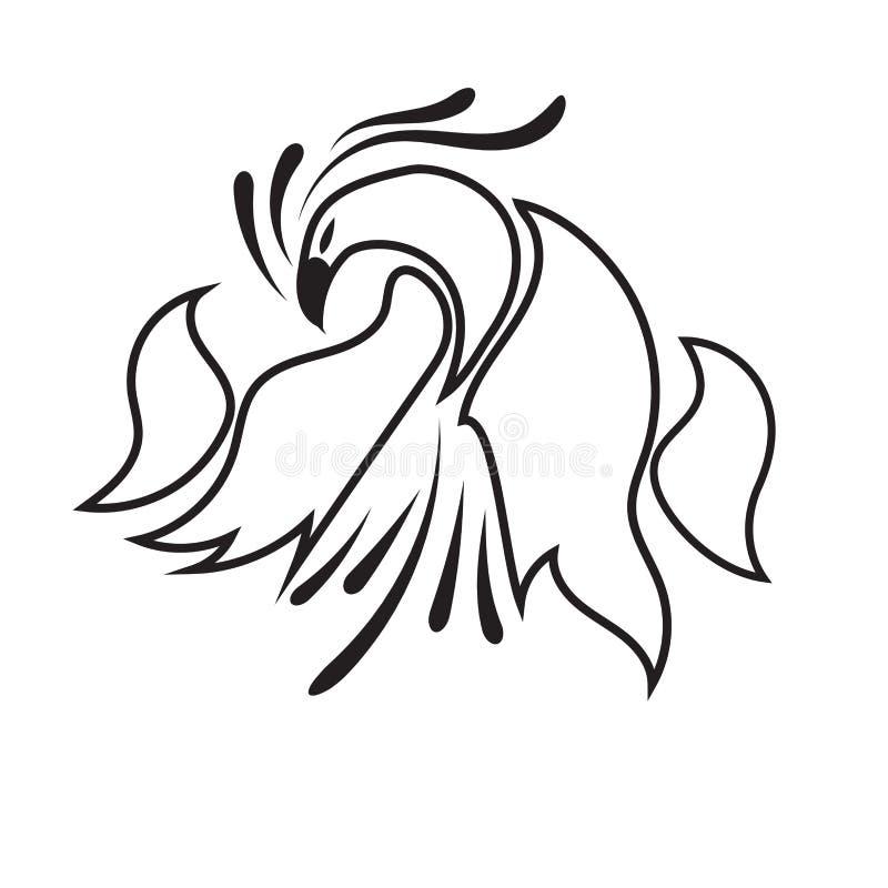 Línea negra del pájaro del logotipo en el fondo blanco Ilustración del vector stock de ilustración