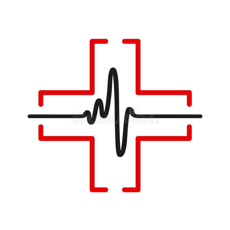 Línea negra del pulso uno del corazón, muestra del cardiograma, latido del corazón - vector libre illustration