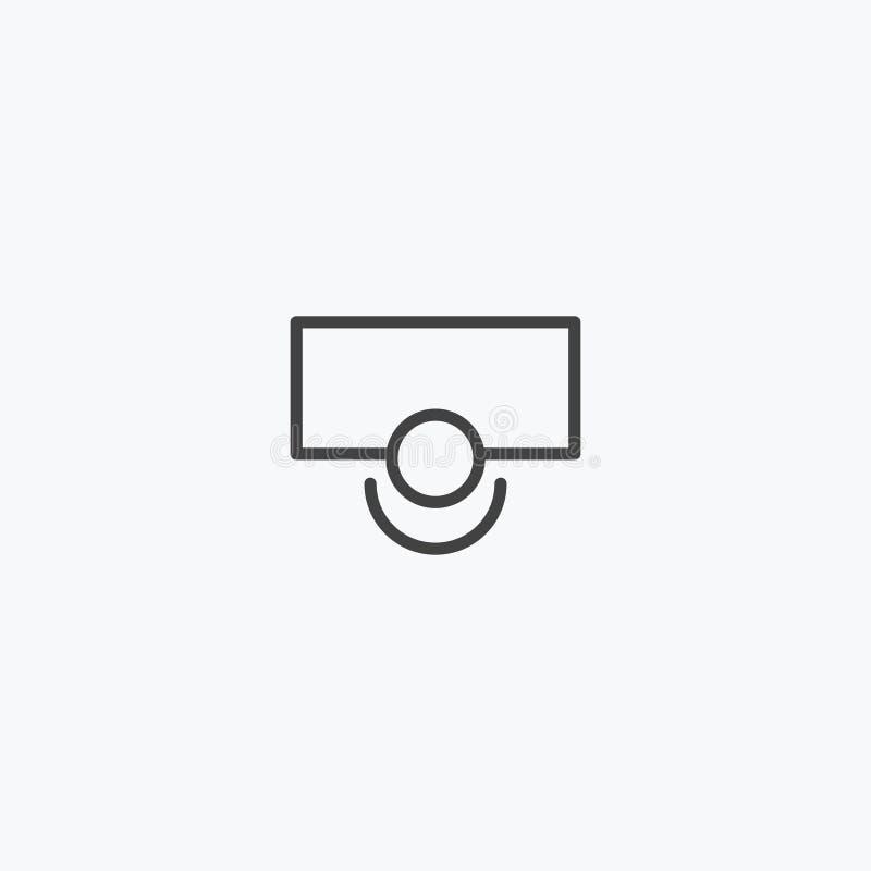 Línea negra fútbol, vector del icono del campo del baloncesto fotografía de archivo libre de regalías