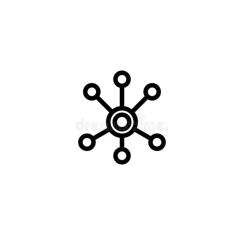 Línea negra icono de la conexión de red del eje aislado en blanco Logotipo de la tecnología o de la tecnología libre illustration