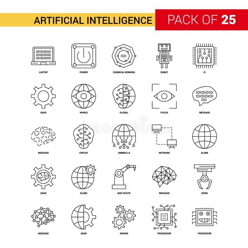 Línea negra icono - esquema Ic de la inteligencia artificial de 25 negocios ilustración del vector