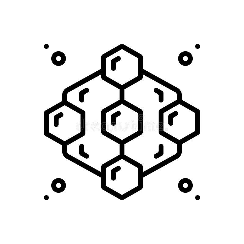 L?nea negra icono para adyacente, el extracto y el modelo ilustración del vector