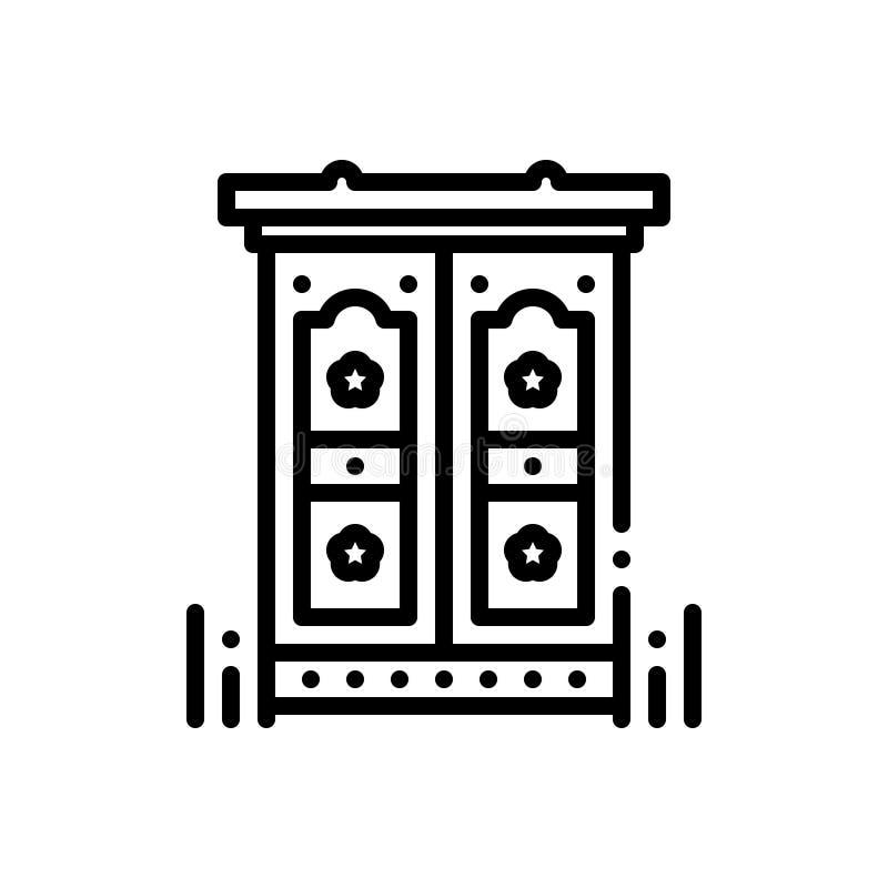 Línea negra icono para Antic, excéntrico y prodigioso stock de ilustración