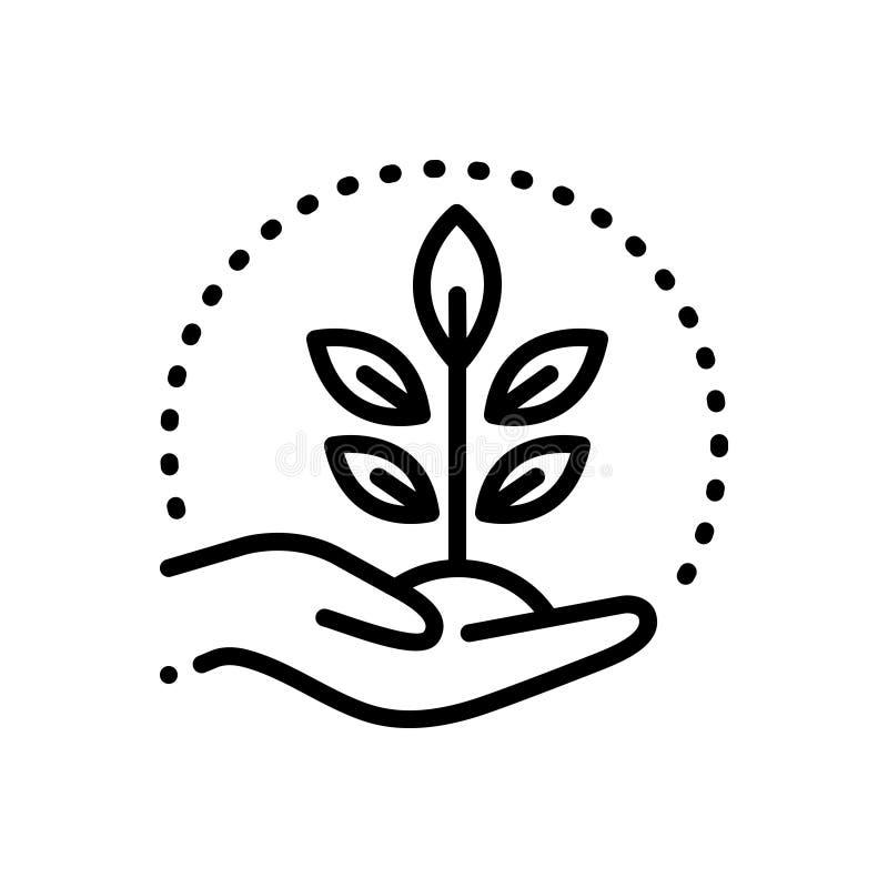 Línea negra icono para conservar, la protección y crecer libre illustration