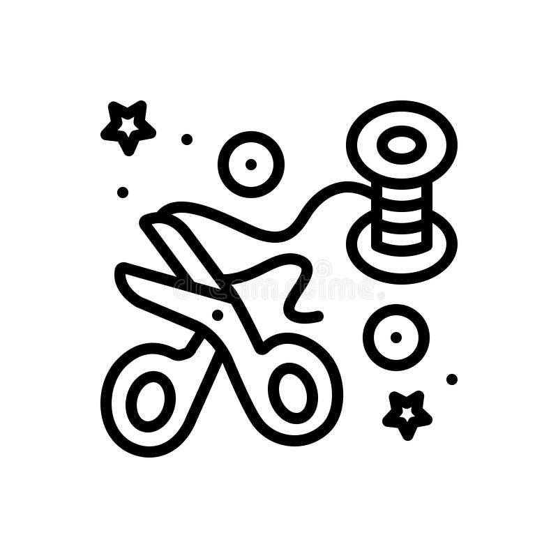Línea negra icono para Crafted, el arte y las tijeras libre illustration